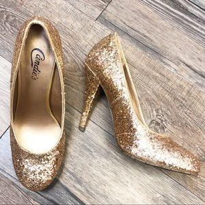 🔥3/$20 CANDIES Gold Glitter Glam Stiletto Heels
